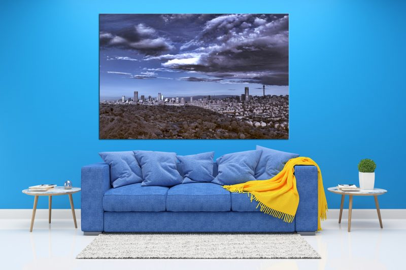 Picture of jozi johannesburg skyline in infrared as a wall art canvas print
