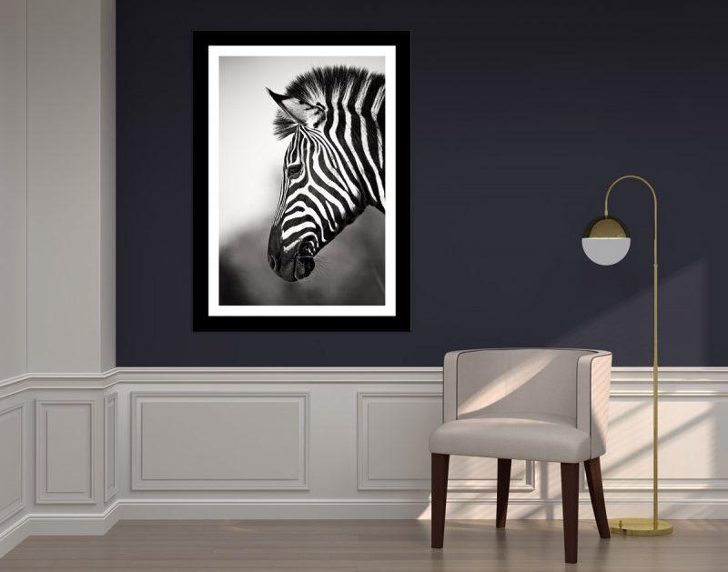 African zebra fine art minimalist black and white wall art canvas